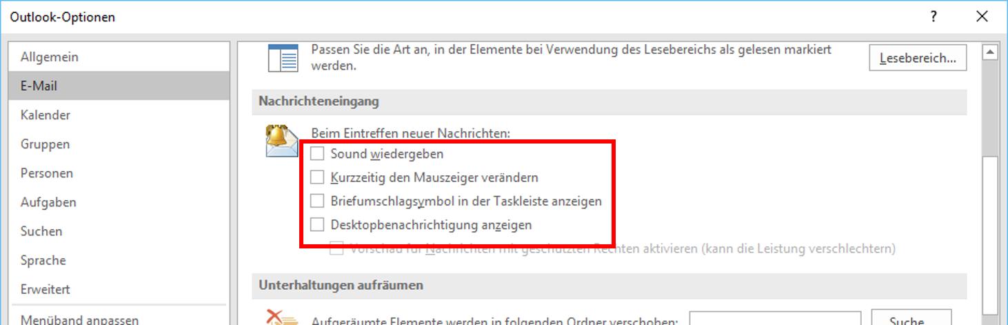 """Sie haben Post"""" – Outlook-Meldungen abschalten (Tipp 1) – STeam – IT ..."""