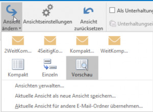 Outlook Ansicht einstellen
