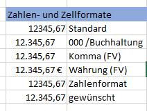 Excel Zahlen-und Zellformate im Vergleich